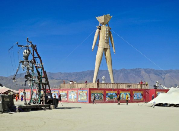 A large skeleton puppet had ropes that Burners could use to make the skeleton dance.