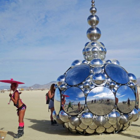 Of all the mirror at Burning Man 2015, this one seem to attract the most attention for both posing and photo ops.