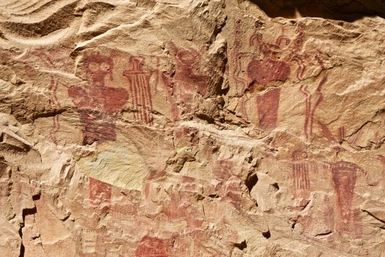 Alien looking forms in an early Native American mural (pictograph) from Sego Canyon in eastern Utah north of I-70.