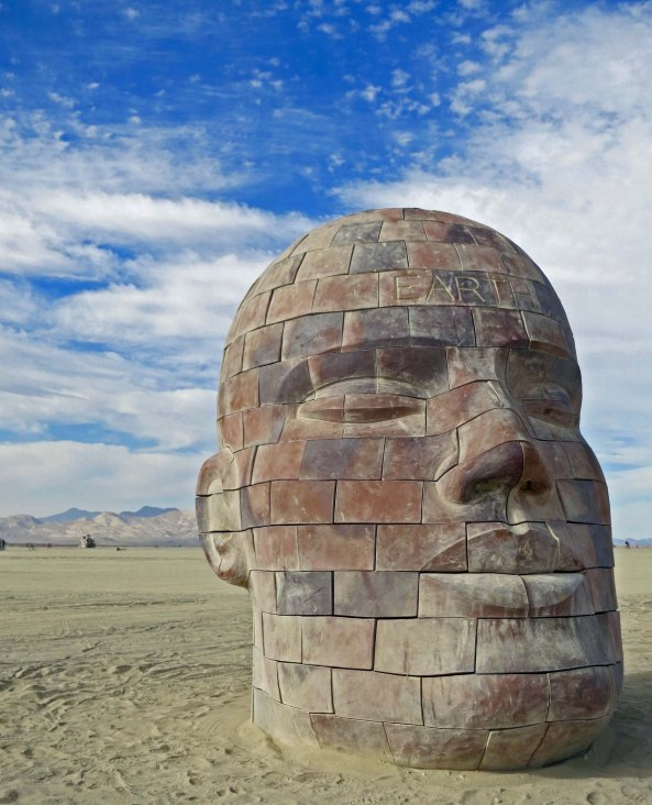 Brickhead sculpture at Burning Man 2015