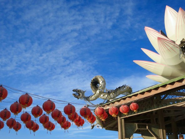 The Temple pf Mazu, Goddess of the Empty Sea, was guarded by dragons at Burning Man.