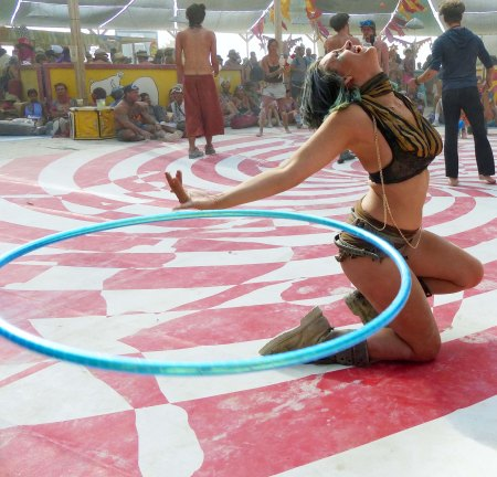 Don caught this woman working her hula-hoop in a seemingly magical way. (Photo by Don Green.)