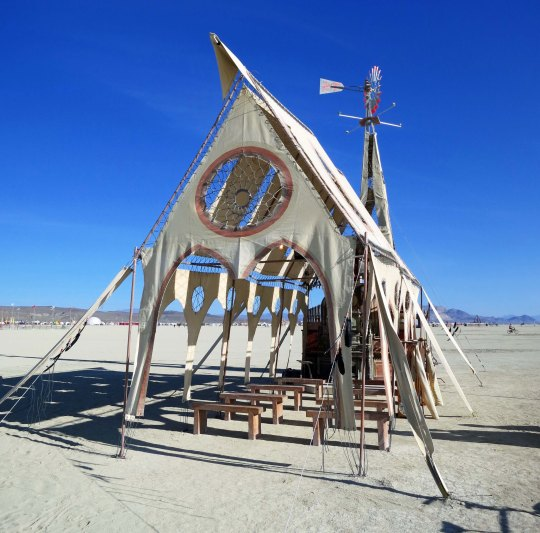 Front view of Prairie Wind Chapel at Burning Man 2015