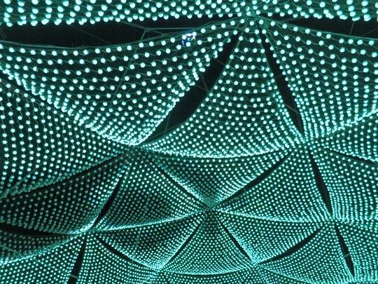 Green light show art at Burning Man 2015