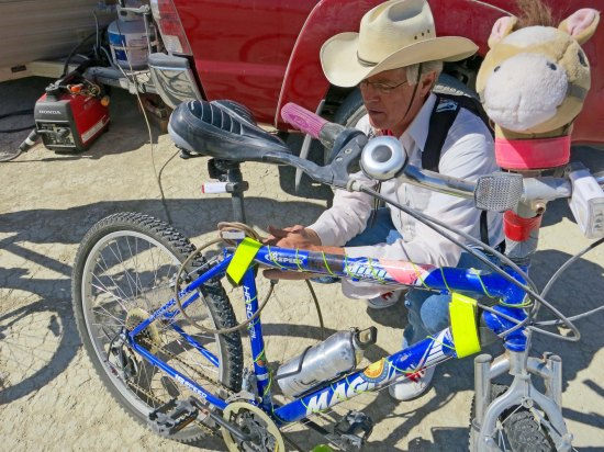 Don Green, who provided a number of photos for this blog series, works on his bike, Trigger. A bit of trivia: When Roy Rodger's horse, Trigger died, he had him stuffed. Trigger now resides in Bransom, Missouri.