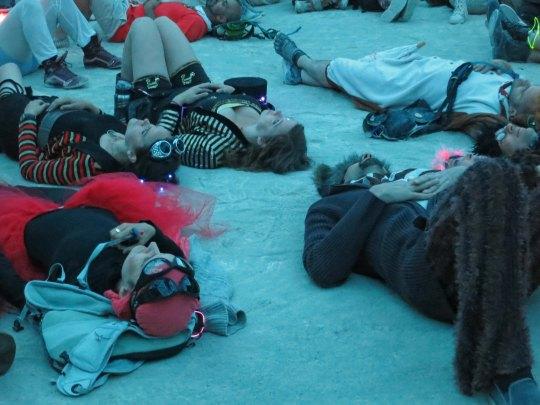 Burners enjoy light show at Burning Man 2015