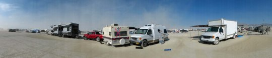 We arrived early at Burning Man. You are allowed to camp anywhere that hasn't been marked off and to take up as much space as you need. My van is on the right and Tom's trailer is on the left.