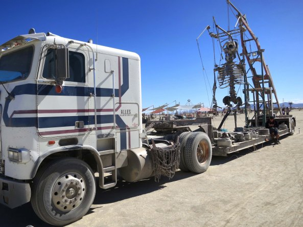 Dancing skeleton on big rig at Burning Man