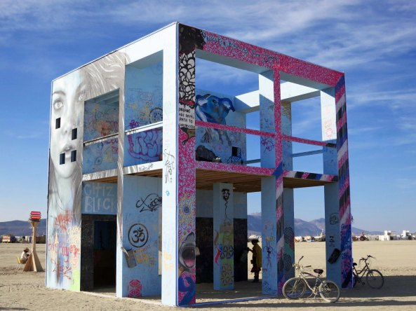 The Life Cube building at Burning Man was designed to incorporate the life aspirations of individual Burners.