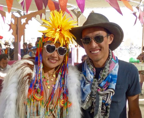Bright, colorful costumes have been a tradition at Burning Man since the event started. They are a way that individuals contribute to the overall atmosphere.