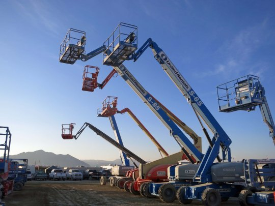 This heavy equipment was up in the air as well. Now you know how all of the large sculptures and buildings are put up.
