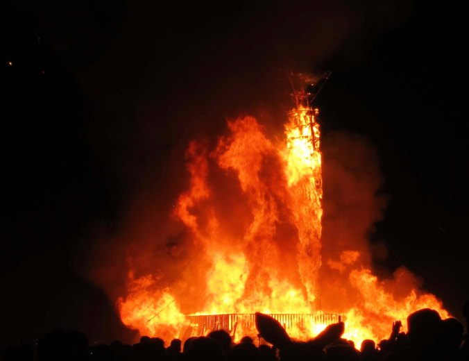 The Burning of the Man on Saturday night gives the event its name.