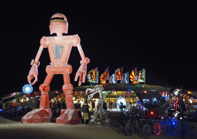 Burning Man robot in front of Center Camp Cafe