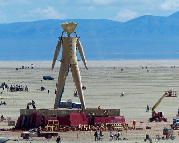 A shot of the Man before he burns on Saturday night. Surrounding buildings have all been taken down. NEXT BLOG: (and final Burning Man post for this series) The Man burns.