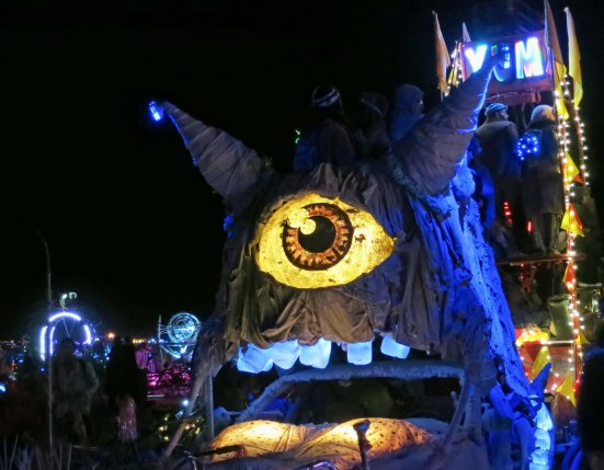 This one-eyed, toothed monster was one of several hundred mutant vehicles at the burn.