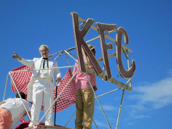 The Kentucky Camp was offering the Kentucky bourbon and baloney, naturally. The Colonel gave me a wave of greeting.