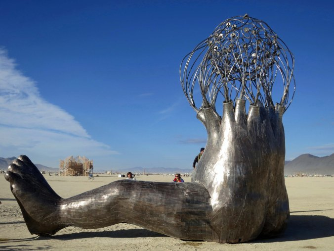 Brainy child sculpture at Burning Man 2015