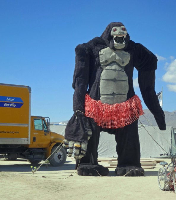 The fun of going on a walkabout at Burning Man is you never know what will come up next, such as King Kong wearing a tutu.