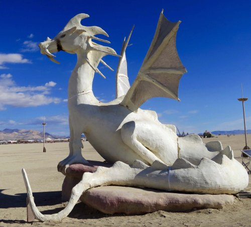 Side view of White Dragon Sculpture at Burning Man 2015