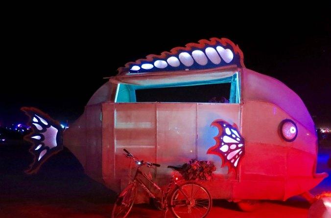 Fish mutant vehicles at night Burning Man 2015