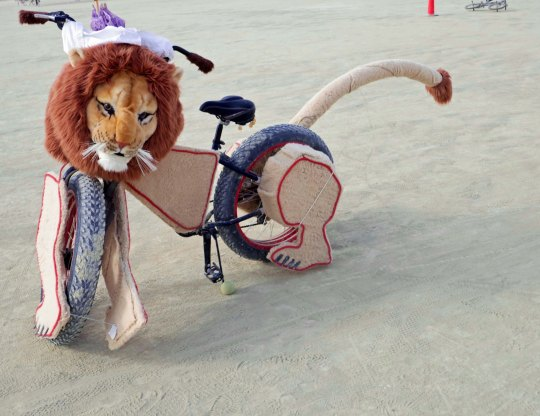 This lion was one of the more uniquely decorated bikes I found at Burning Man 2015.