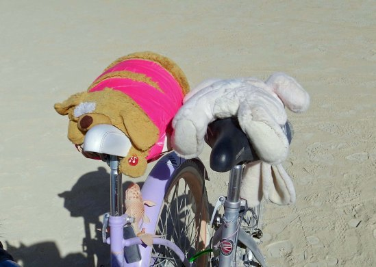 If you have never biked, or haven't biked for quite awhile, your crotch may be in for a real treat. These folks (and their highly abused rabbit and bear) have done what they can to counter the experience.