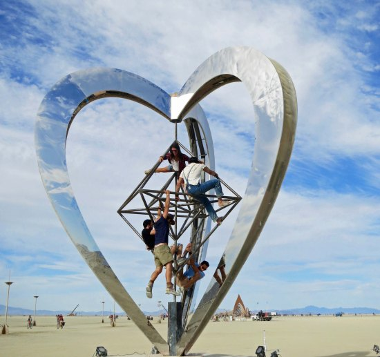 The giant 3-D heart came with a jungle gym to crawl on.