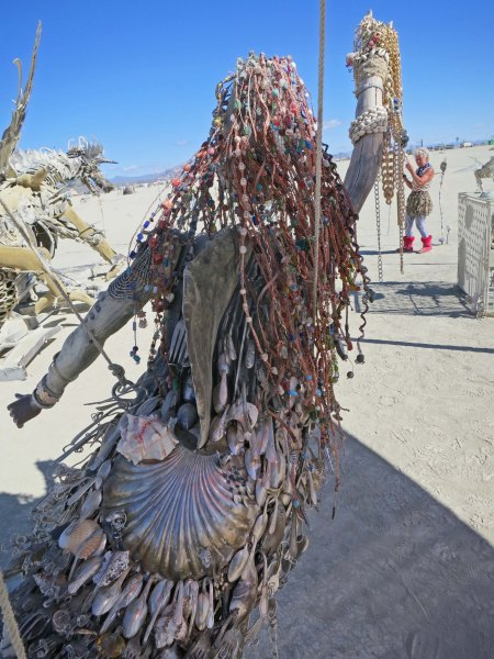 I was told that the spoons on this lovely mermaids back came off of Craig's List, the same place my Burning Man Ticket came from.
