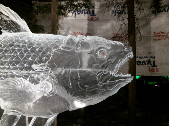 """Ancient Fish"" at the 2016 World Ice Art Championships in Fairbanks, Alaska"