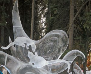 """Nature of Conflict"" ice art sculpture at 2016 Ice Art Competition held in Fairbanks, Alaska."