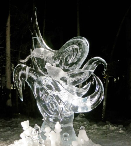 """Nature of Conflict"" ice art sculpture at the 2016 World Ice Art Championships."