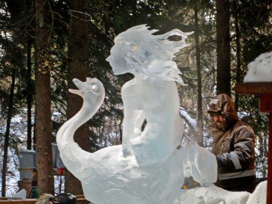 """Ice Sculpture """"Yahoo"""" at the 2016 World Ice Art Championships in Fairbanks, Alaska."""