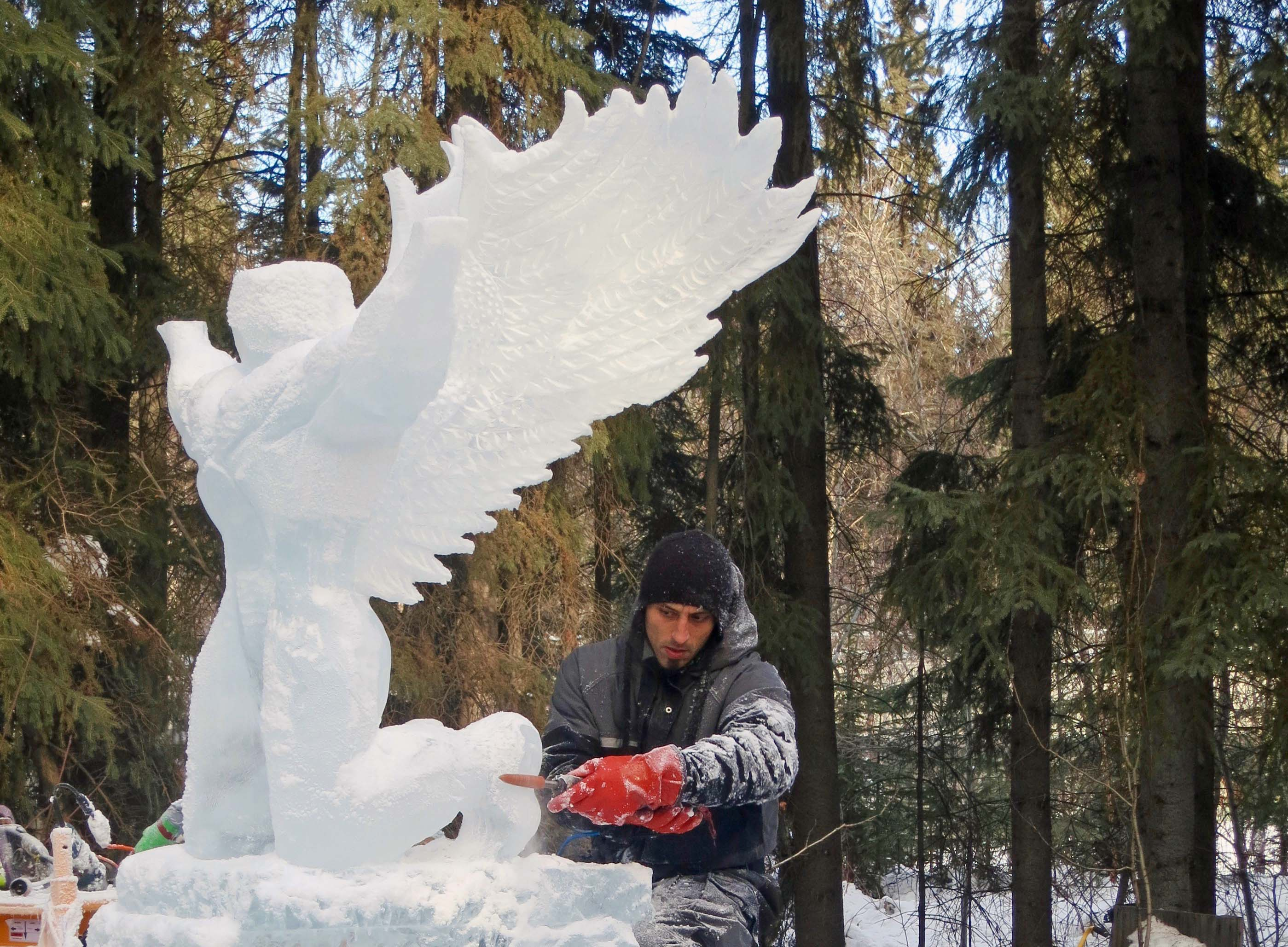 """""""Still I Rise"""" sculpture at the 2016 Word Ice Art Championships in Fairbanks."""