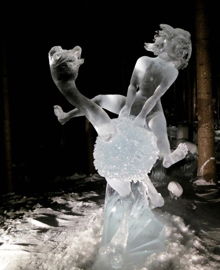 Yahoo! ice carving sculpture at the 2016 World Ice Art Championships in Fairbanks, Alaska..