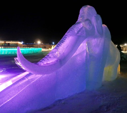This mammoth lit up at night fronted for another slide.