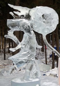 """AAAHH BaaMMM Beee Beeem"" ice art sculpture at 2016 International Art Carving Competition in Fairbanks, Alaska."