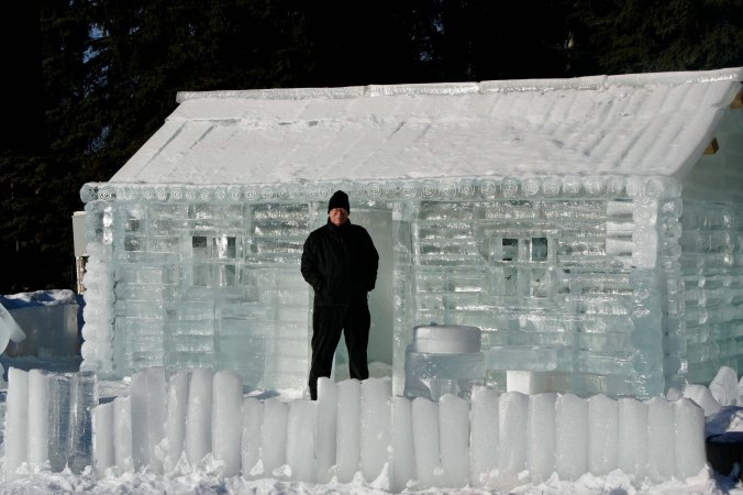 Peggy and I have always wanted a log cabin. But this one may be a little cold.