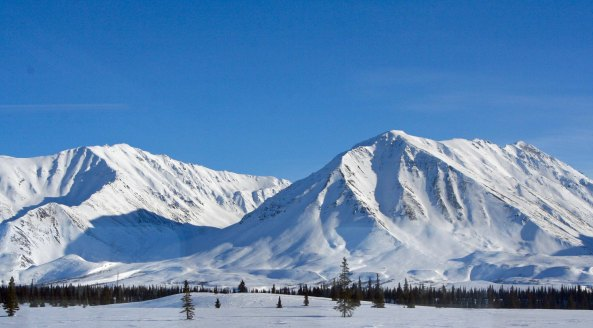 Mountain Scene on Alaska Railroad between Anchorage and Fairbanks.