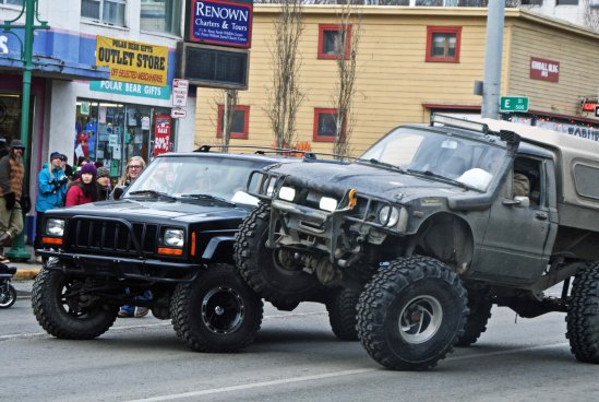 Apparently, this is the latest in macho tricks by four wheel vehicles.