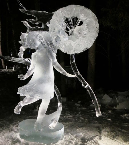 "A""AAHH BaaMMM Beee Beeem"" ice sculpture during the night of judging at the 2016 World Ice Art Championships."