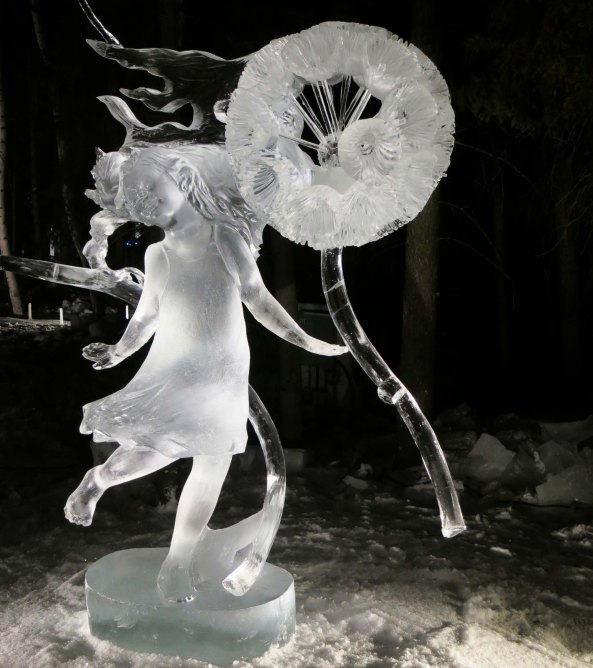 """A""""AAHH BaaMMM Beee Beeem"""" ice sculpture during the night of judging at the 2016 World Ice Art Championships."""