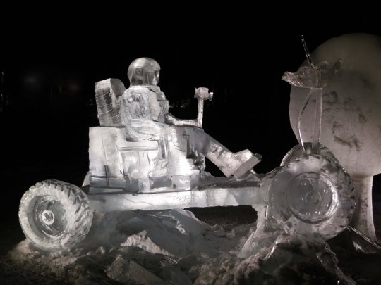 """ Mission on Mars"" ice carving sculpture at the 2016 World Ice Art Championships in Fairbanks, Alaska."