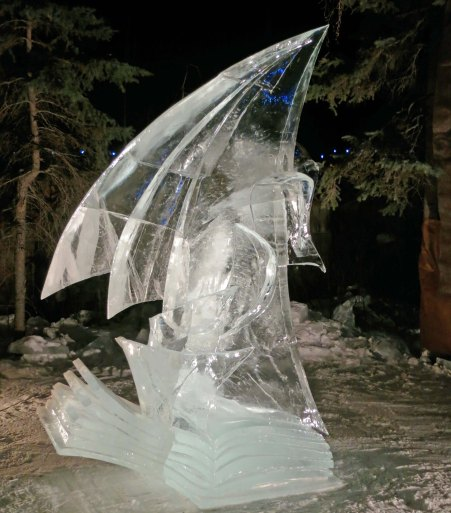 """Destinee"" ice carving sculpture at the 2016 World Ice Art Championships in Fairbanks, Alaska."