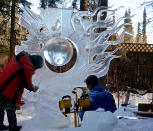 """""""The Beginning of Time"""" ice art sculpture at 2016 ice art sculpture at the 2106 International Ice Art Competition."""