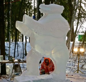 Renewed Embodiment ice carving sculpture at the 2016 World Ice Art Championships in Fair banks, Alaska.