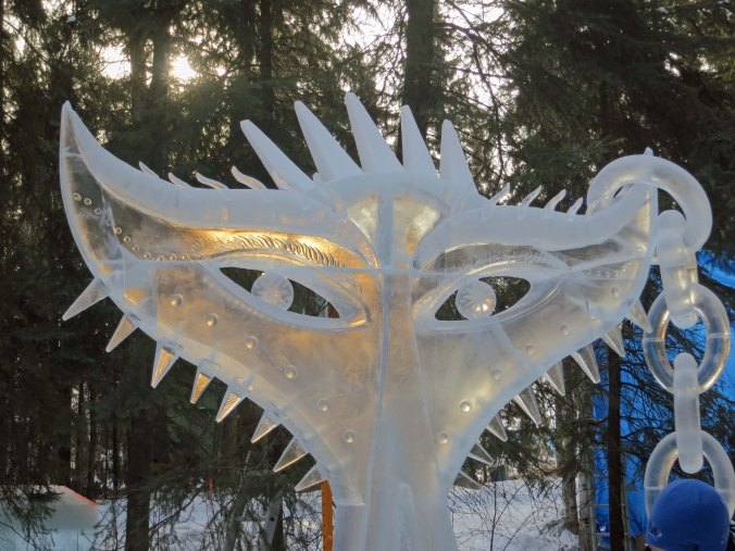 """The """"Stuck Up"""" sculpture at the 2016 Word Ice Art Championships in Fairbanks."""