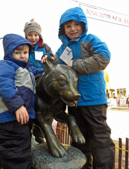 Naturally, our grandsons wanted their photo taken with the sled dog.