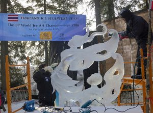 """Don't Leave Me Now"" Ice Sculpture at the 2016 Ice Art Championships in Fairbanks, Alaska."