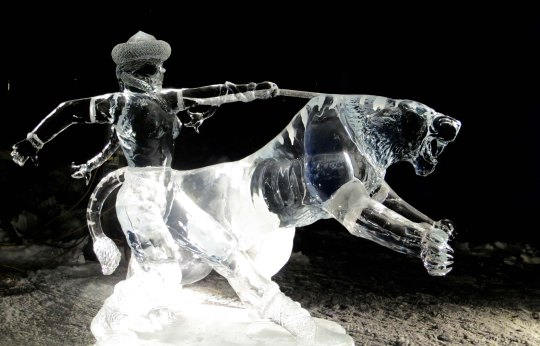"""""""Hard to Handle"""" ice carving sculpture at the 2016 World Ice Art Championships in Fairbanks, Alaska."""