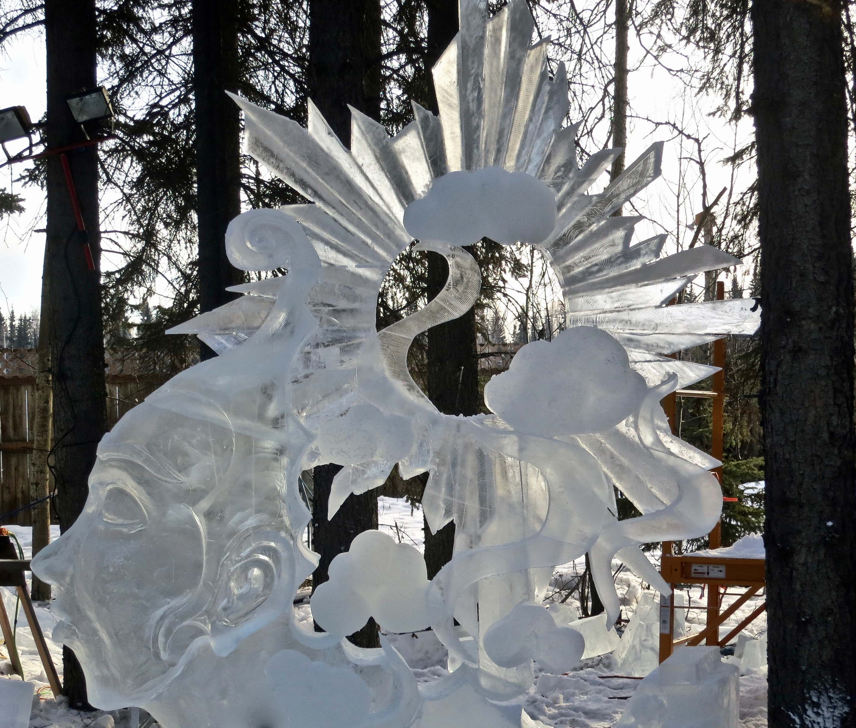 """The """"North Wind and Sun"""" sculpture at the 2016 Word Ice Art Championships in Fairbanks."""